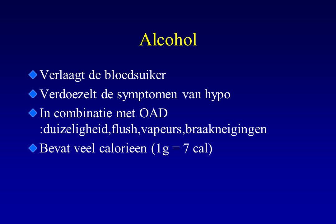 Alcohol Verlaagt de bloedsuiker Verdoezelt de symptomen van hypo In combinatie met OAD :duizeligheid,flush,vapeurs,braakneigingen Bevat veel calorieen