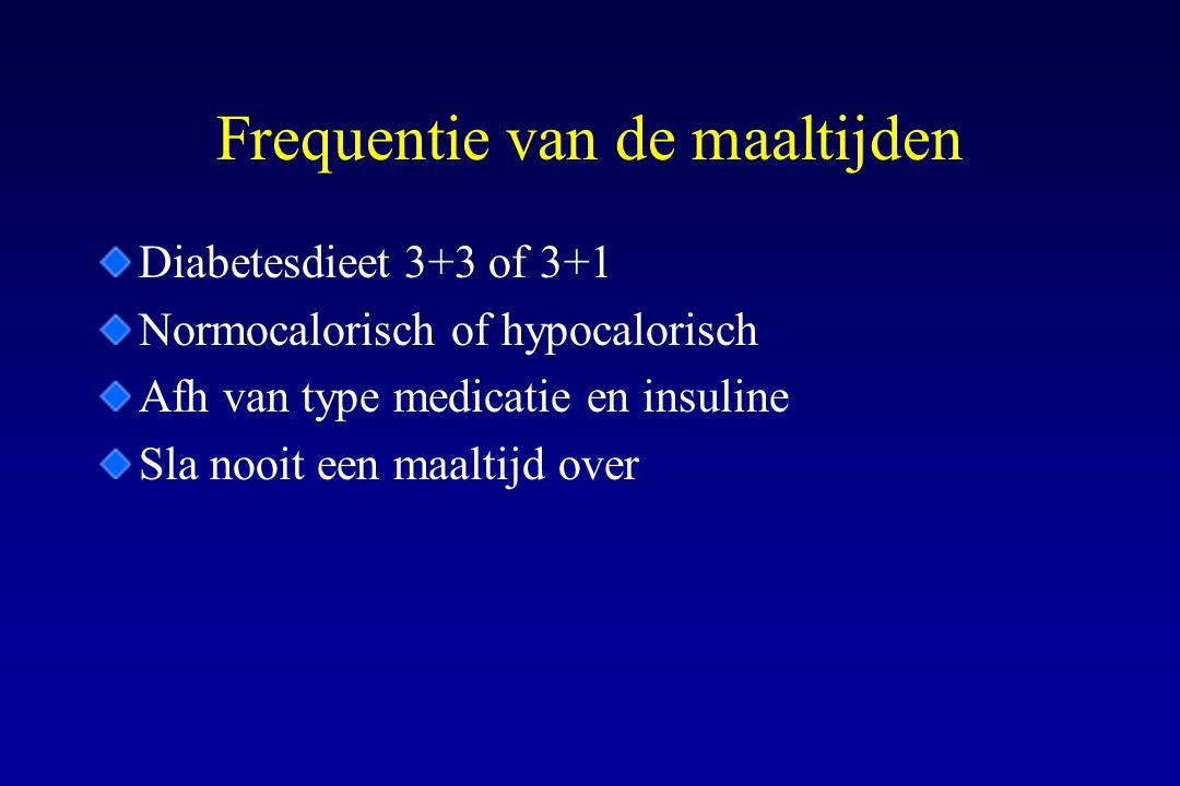 Frequentie van de maaltijden Diabetesdieet 3+3 of 3+1 Normocalorisch of hypocalorisch Afh van type medicatie en insuline Sla nooit een maaltijd over