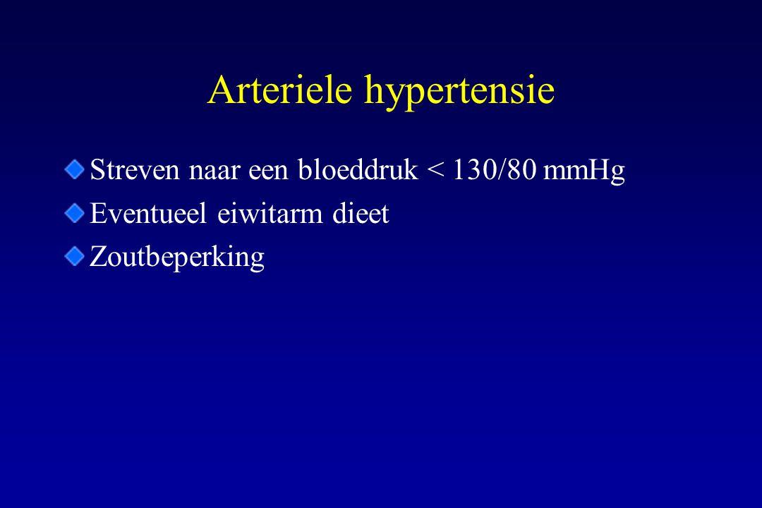 Arteriele hypertensie Streven naar een bloeddruk < 130/80 mmHg Eventueel eiwitarm dieet Zoutbeperking