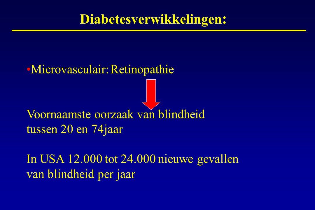 Diabetesverwikkelingen : Microvasculair:Retinopathie Voornaamste oorzaak van blindheid tussen 20 en 74jaar In USA 12.000 tot 24.000 nieuwe gevallen va