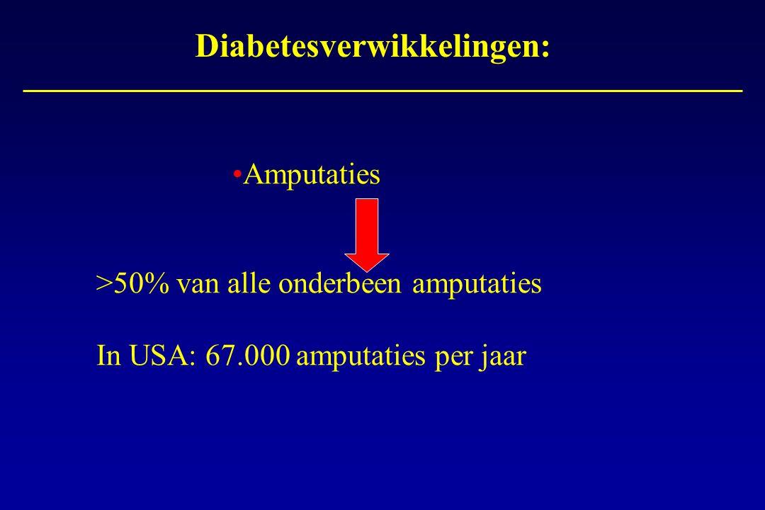 Diabetesverwikkelingen: Amputaties >50% van alle onderbeen amputaties In USA: 67.000 amputaties per jaar