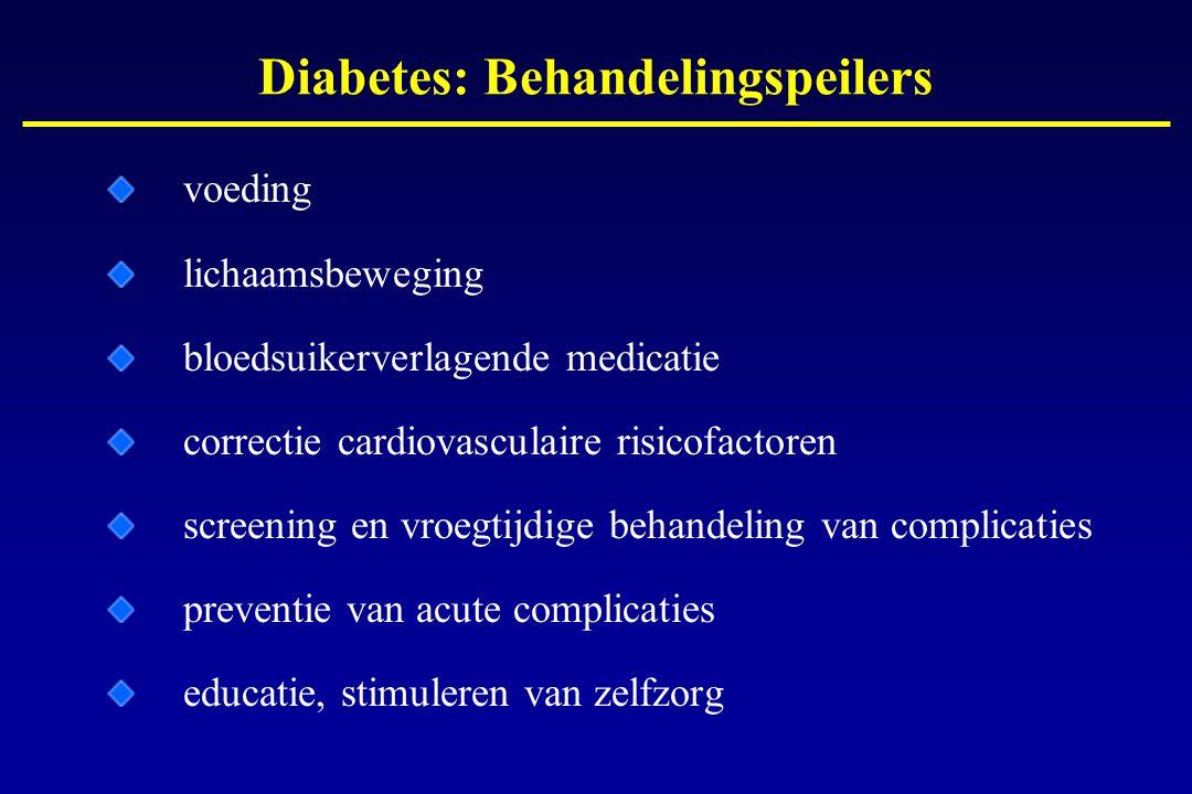 Diabetes: Behandelingspeilers voeding lichaamsbeweging bloedsuikerverlagende medicatie correctie cardiovasculaire risicofactoren screening en vroegtij