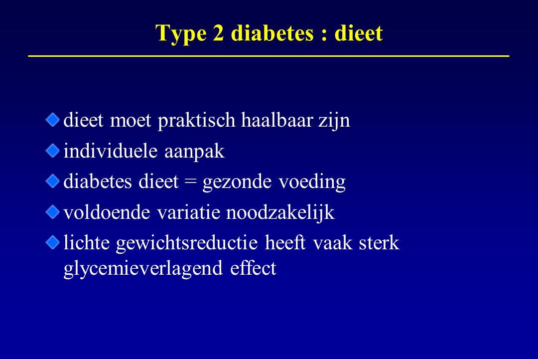 Type 2 diabetes : dieet dieet moet praktisch haalbaar zijn individuele aanpak diabetes dieet = gezonde voeding voldoende variatie noodzakelijk lichte