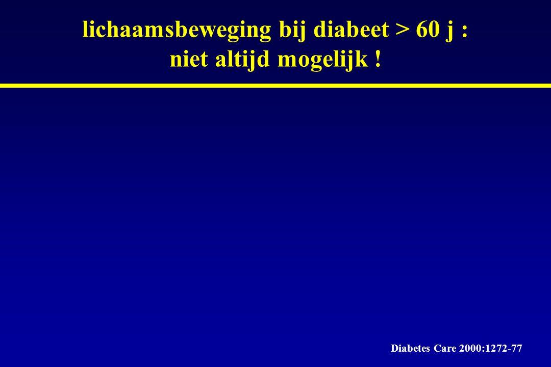 lichaamsbeweging bij diabeet > 60 j : niet altijd mogelijk ! Diabetes Care 2000:1272-77