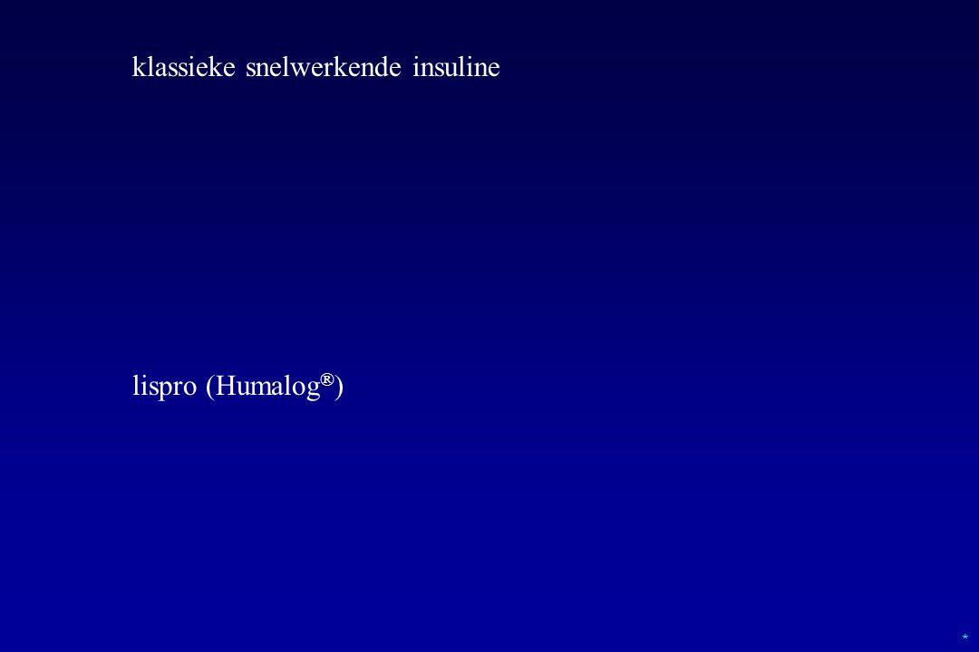 * klassieke snelwerkende insuline lispro (Humalog ® )