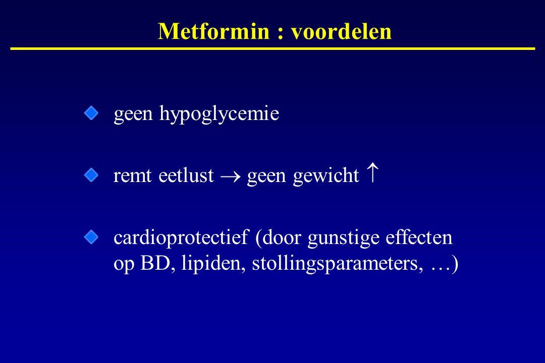 geen hypoglycemie remt eetlust  geen gewicht  cardioprotectief (door gunstige effecten op BD, lipiden, stollingsparameters, …) Metformin : voordelen