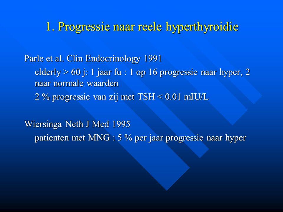 1. Progressie naar reele hyperthyroidie Parle et al. Clin Endocrinology 1991 elderly > 60 j: 1 jaar fu : 1 op 16 progressie naar hyper, 2 naar normale