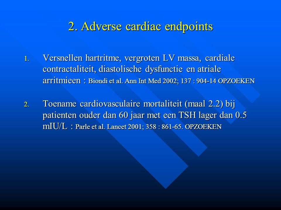 2. Adverse cardiac endpoints 1. Versnellen hartritme, vergroten LV massa, cardiale contractaliteit, diastolische dysfunctie en atriale arritmieen : Bi