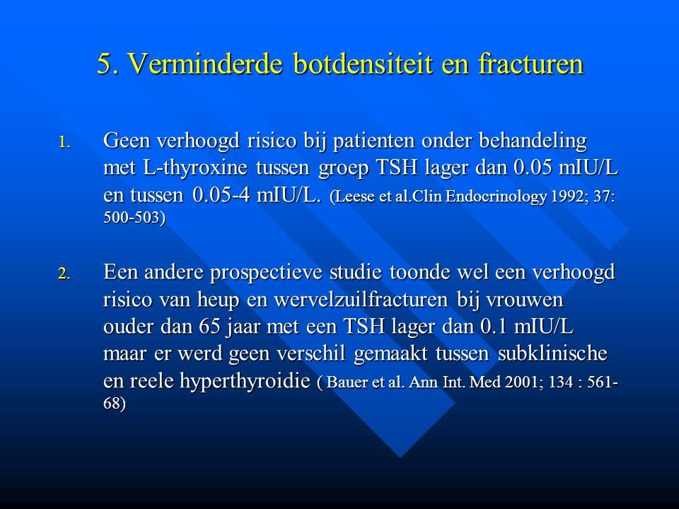5. Verminderde botdensiteit en fracturen 1. Geen verhoogd risico bij patienten onder behandeling met L-thyroxine tussen groep TSH lager dan 0.05 mIU/L