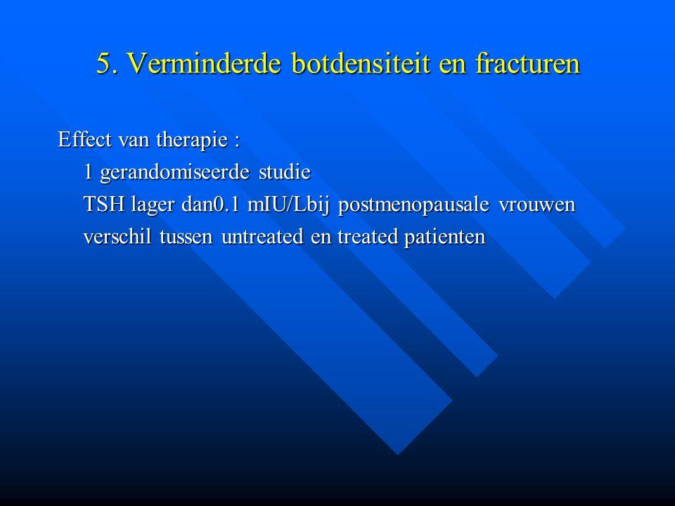 5. Verminderde botdensiteit en fracturen Effect van therapie : 1 gerandomiseerde studie TSH lager dan0.1 mIU/Lbij postmenopausale vrouwen verschil tus