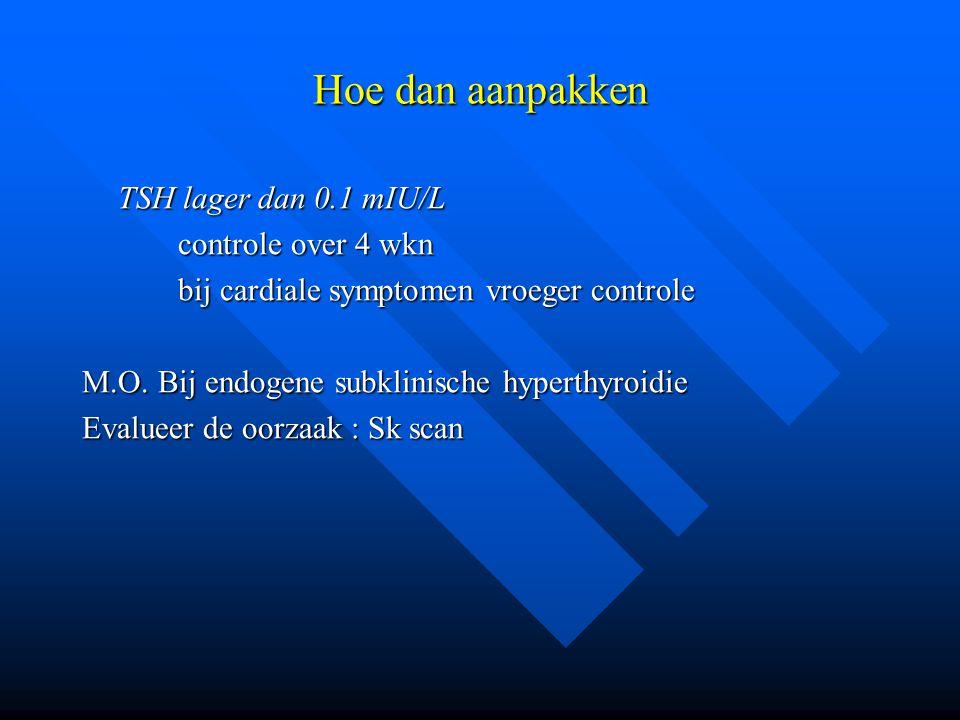 Hoe dan aanpakken TSH lager dan 0.1 mIU/L controle over 4 wkn bij cardiale symptomen vroeger controle M.O. Bij endogene subklinische hyperthyroidie Ev