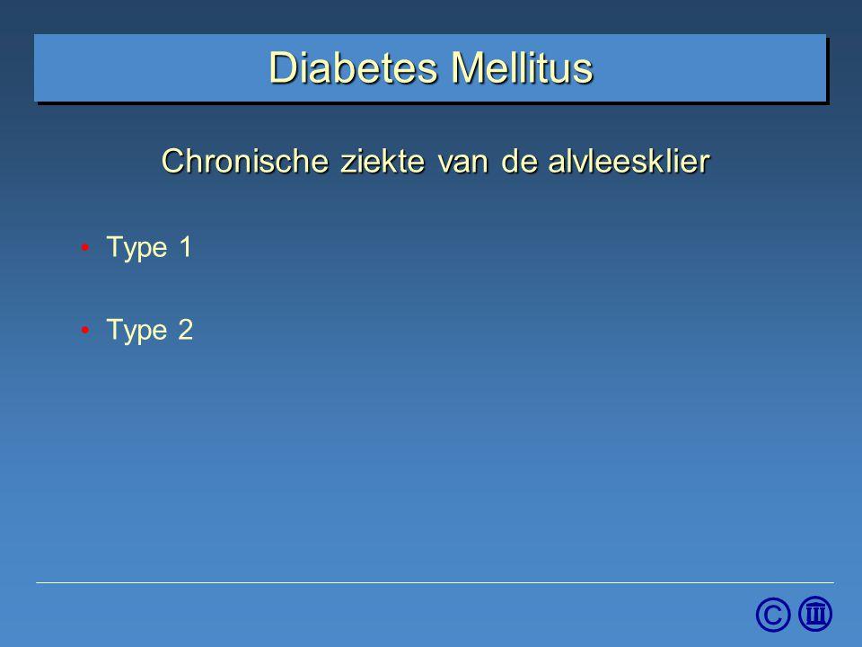 © Diabetes Mellitus Chronische ziekte van de alvleesklier Type 1 Type 2