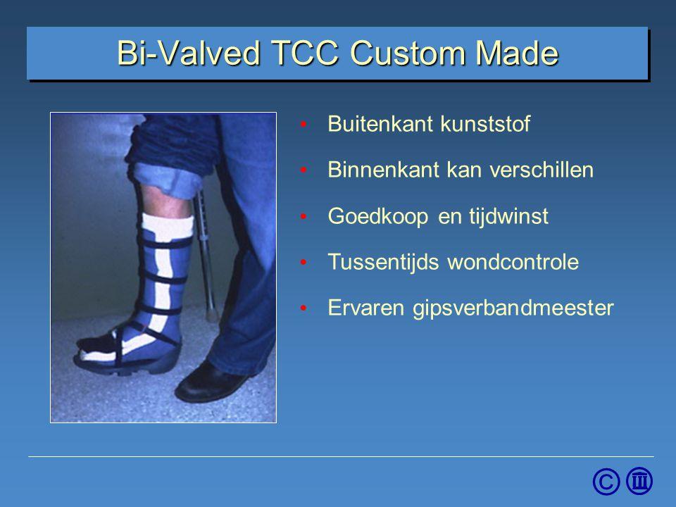 © Bi-Valved TCC Custom Made Bed Buitenkant kunststof Binnenkant kan verschillen Goedkoop en tijdwinst Tussentijds wondcontrole Ervaren gipsverbandmees
