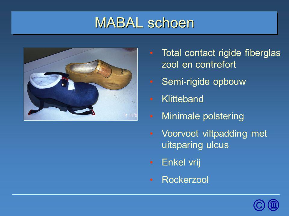 © MABAL schoen Total contact rigide fiberglas zool en contrefort Semi-rigide opbouw Klitteband Minimale polstering Voorvoet viltpadding met uitsparing