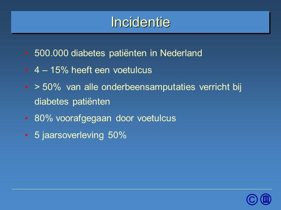 © Incidentie 500.000 diabetes patiënten in Nederland 4 – 15% heeft een voetulcus > 50% van alle onderbeensamputaties verricht bij diabetes patiënten 8