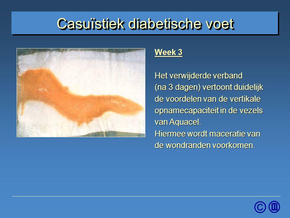 © Week 3 Het verwijderde verband (na 3 dagen) vertoont duidelijk de voordelen van de vertikale opnamecapaciteit in de vezels van Aquacel. Hiermee word
