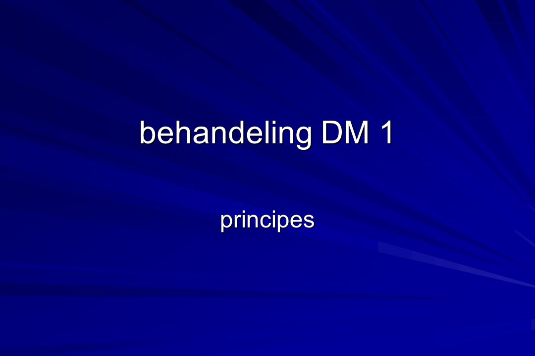 behandeling DM 1 principes