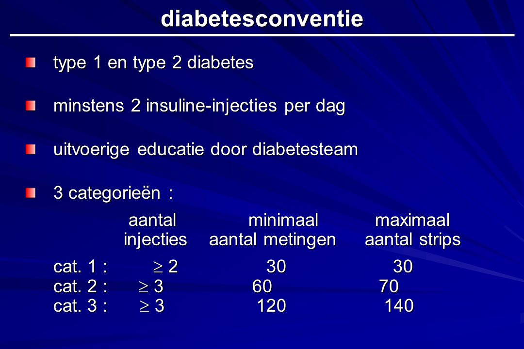 type 1 en type 2 diabetes minstens 2 insuline-injecties per dag uitvoerige educatie door diabetesteam 3 categorieën : aantal minimaal maximaal injectiesaantal metingenaantal strips cat.