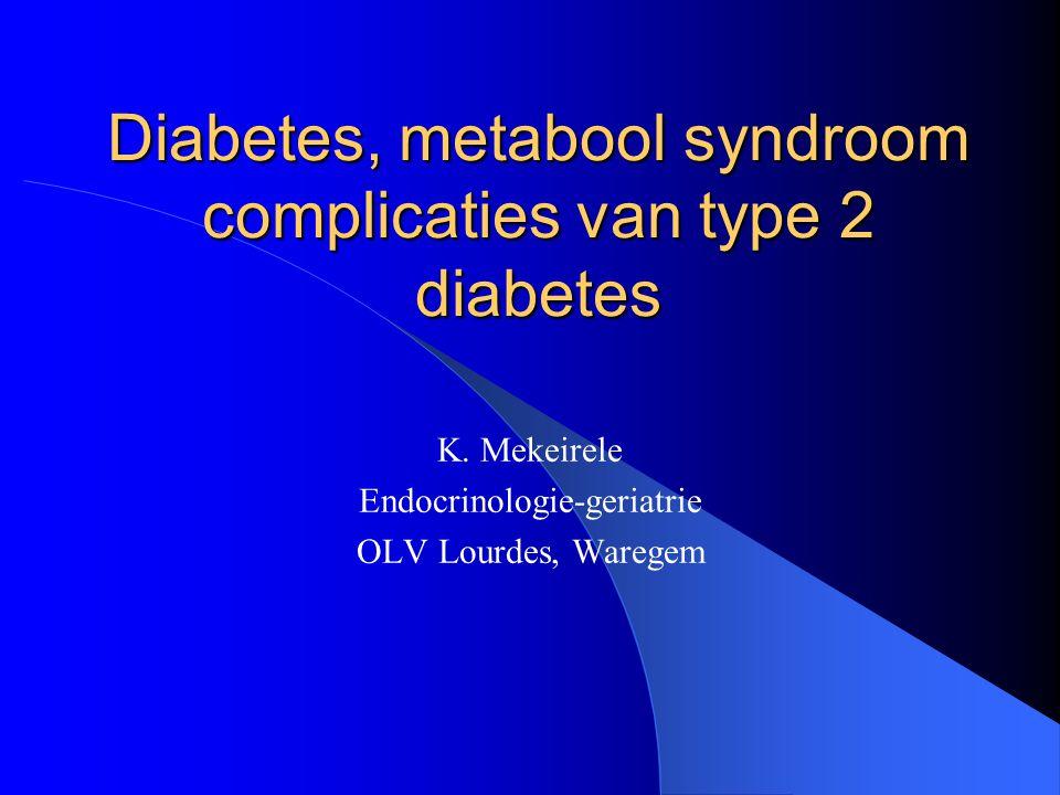 Inhoud 1. Diabetes type 2 2. Metabool syndroom 3. Complicaties van diabetes 4. Behandeling