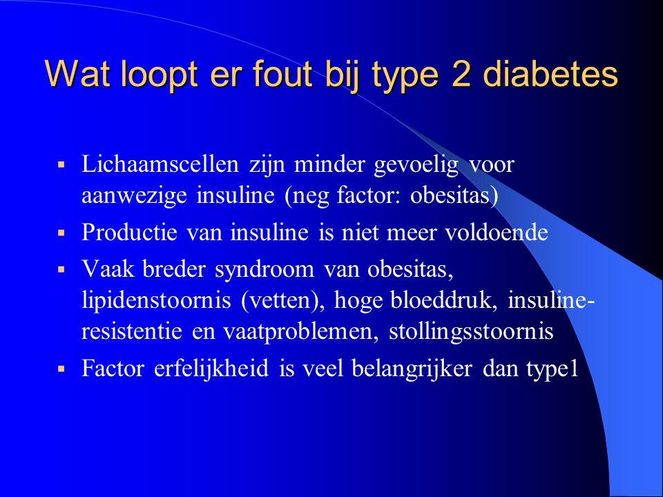 Wat loopt er fout bij type 2 diabetes  Lichaamscellen zijn minder gevoelig voor aanwezige insuline (neg factor: obesitas)  Productie van insuline is