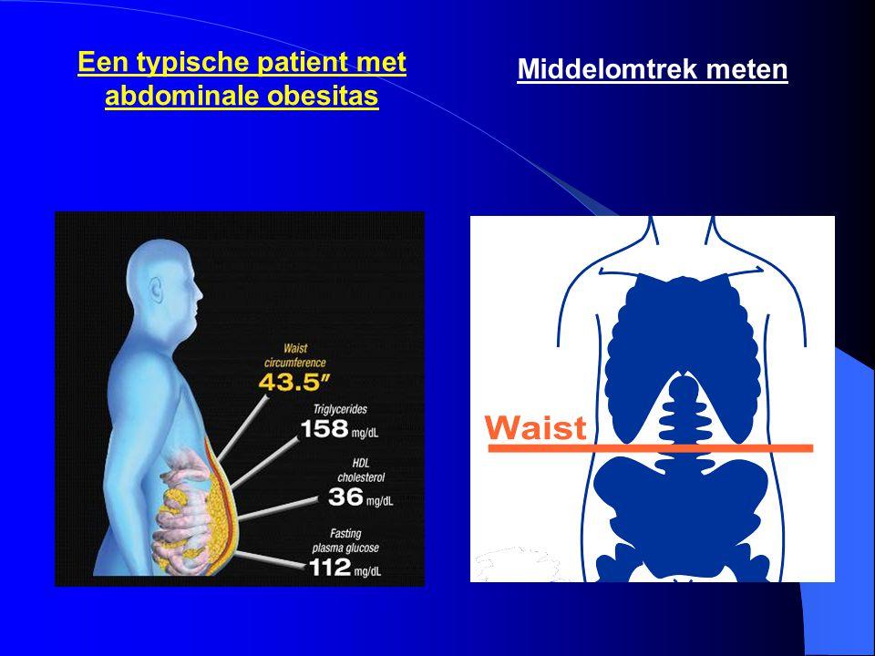 Een typische patient met abdominale obesitas Middelomtrek meten