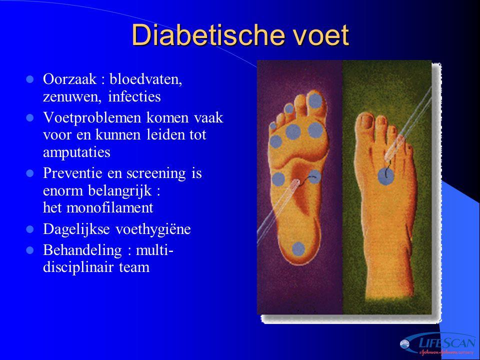 Diabetische voet Oorzaak : bloedvaten, zenuwen, infecties Voetproblemen komen vaak voor en kunnen leiden tot amputaties Preventie en screening is enor