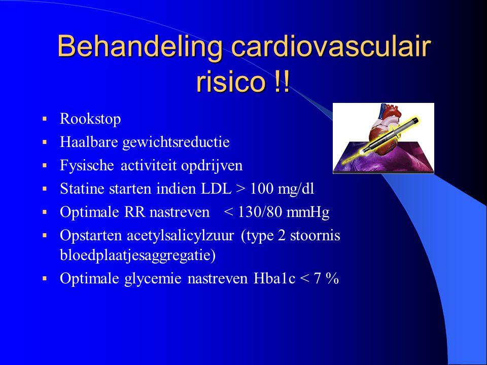 Behandeling cardiovasculair risico !!  Rookstop  Haalbare gewichtsreductie  Fysische activiteit opdrijven  Statine starten indien LDL > 100 mg/dl