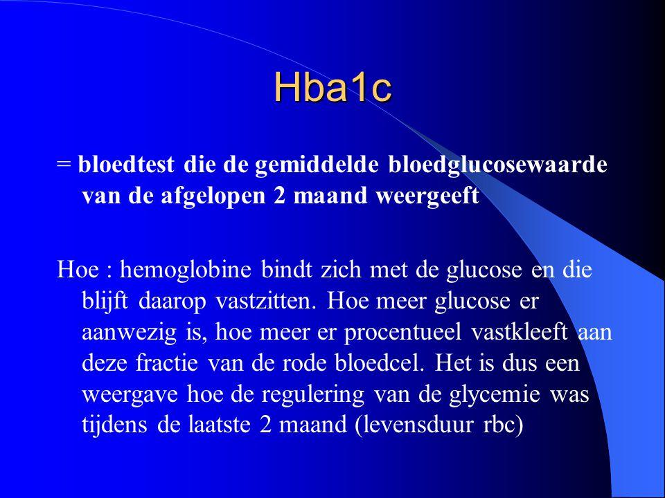 Hba1c = bloedtest die de gemiddelde bloedglucosewaarde van de afgelopen 2 maand weergeeft Hoe : hemoglobine bindt zich met de glucose en die blijft da