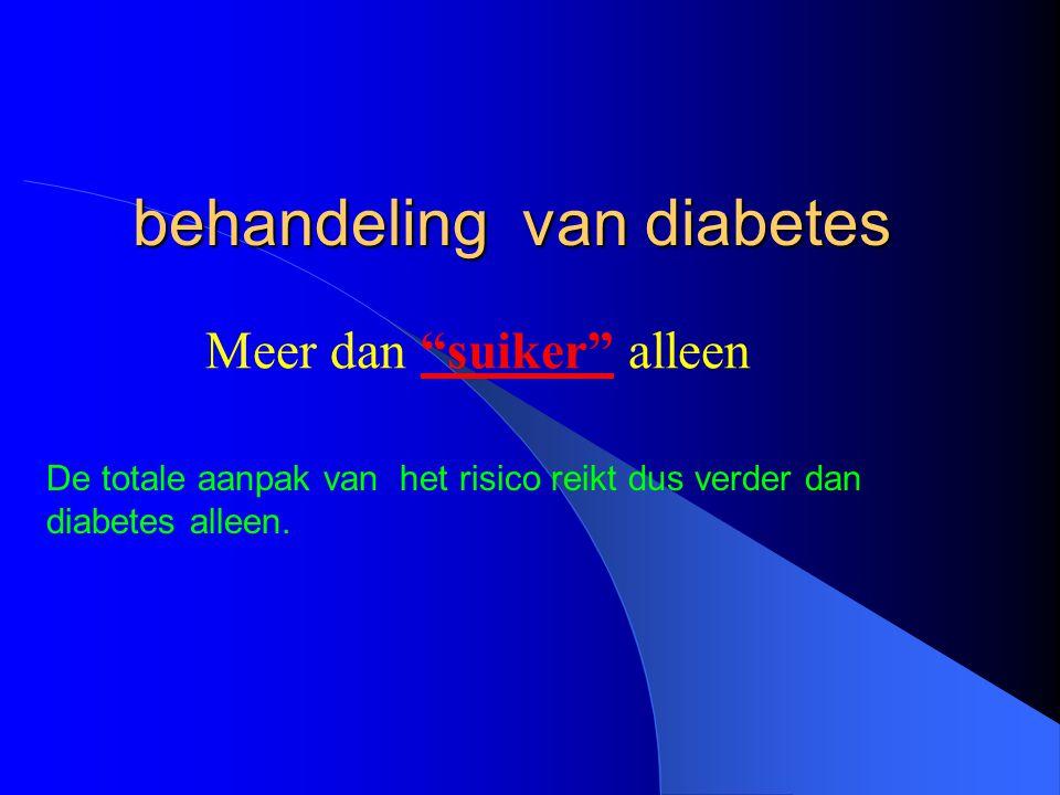 """behandeling van diabetes Meer dan """"suiker"""" alleen De totale aanpak van het risico reikt dus verder dan diabetes alleen."""