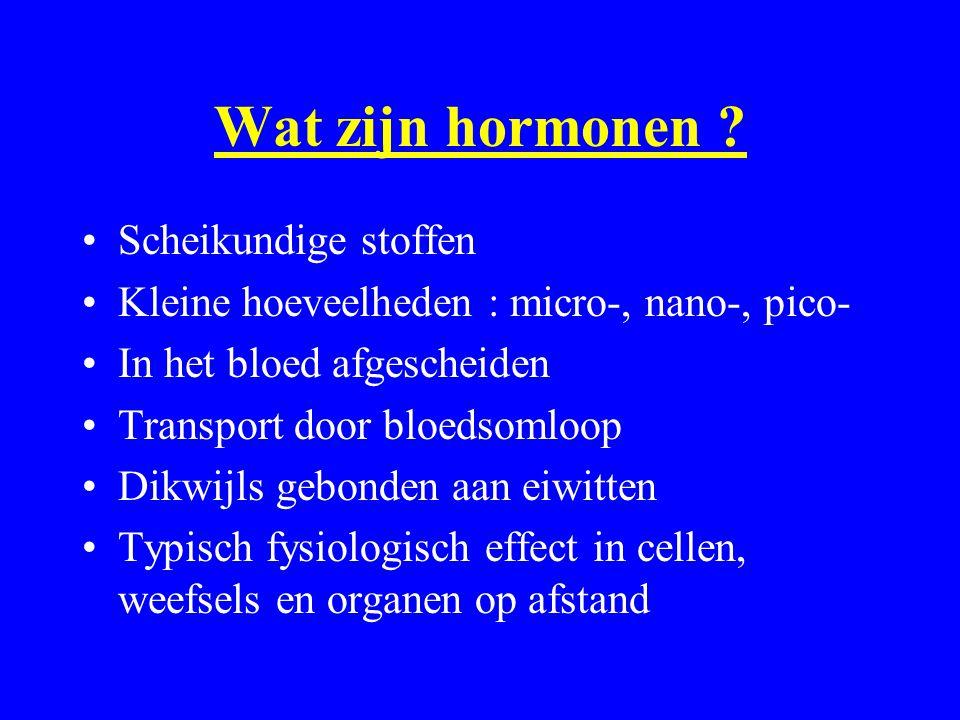 Wat zijn hormonen ? Scheikundige stoffen Kleine hoeveelheden : micro-, nano-, pico- In het bloed afgescheiden Transport door bloedsomloop Dikwijls geb