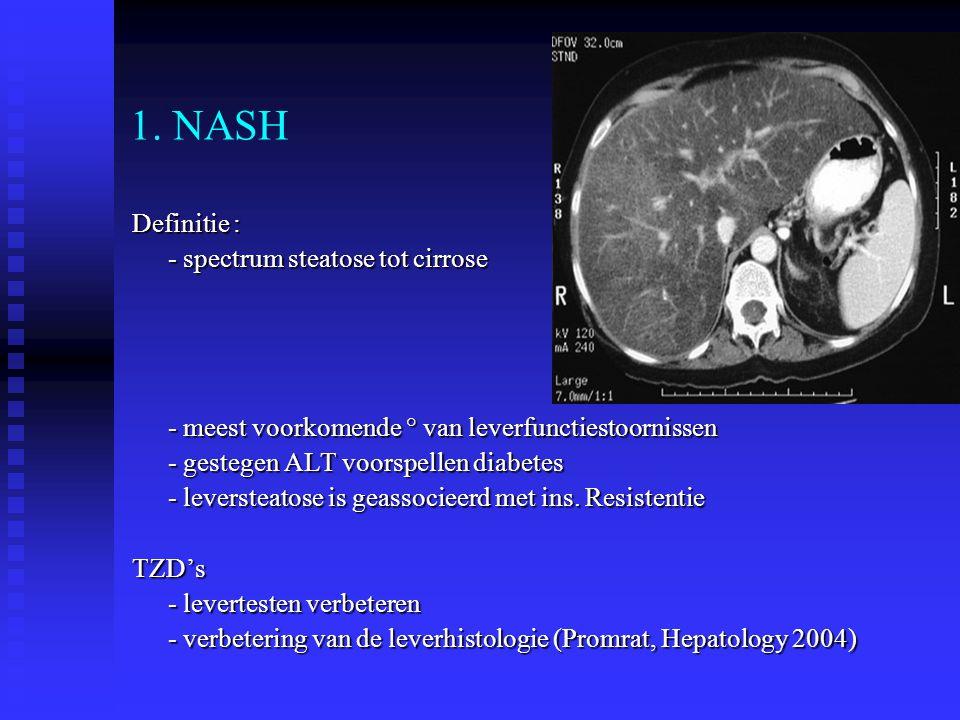 1. NASH Definitie : - spectrum steatose tot cirrose - meest voorkomende ° van leverfunctiestoornissen - gestegen ALT voorspellen diabetes - leversteat