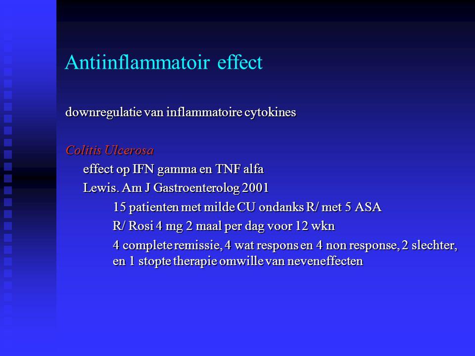 Antiinflammatoir effect downregulatie van inflammatoire cytokines Colitis Ulcerosa effect op IFN gamma en TNF alfa Lewis. Am J Gastroenterolog 2001 15
