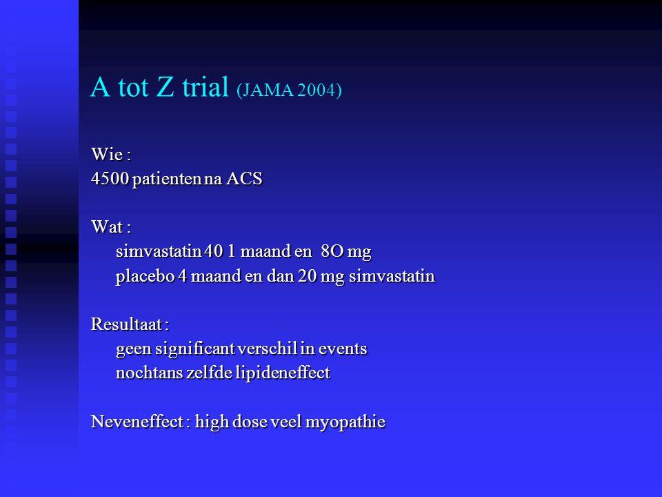 A tot Z trial (JAMA 2004) Wie : 4500 patienten na ACS Wat : simvastatin 40 1 maand en 8O mg simvastatin 40 1 maand en 8O mg placebo 4 maand en dan 20