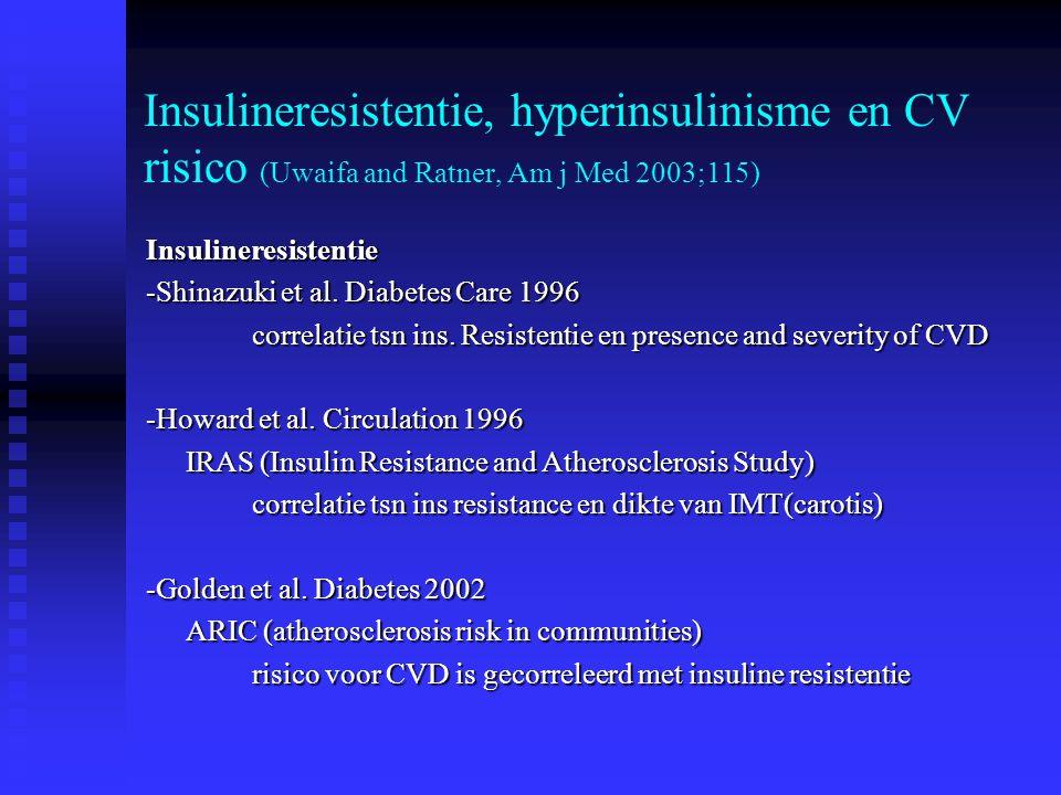 Insulineresistentie, hyperinsulinisme en CV risico (Uwaifa and Ratner, Am j Med 2003;115) Insulineresistentie -Shinazuki et al. Diabetes Care 1996 cor