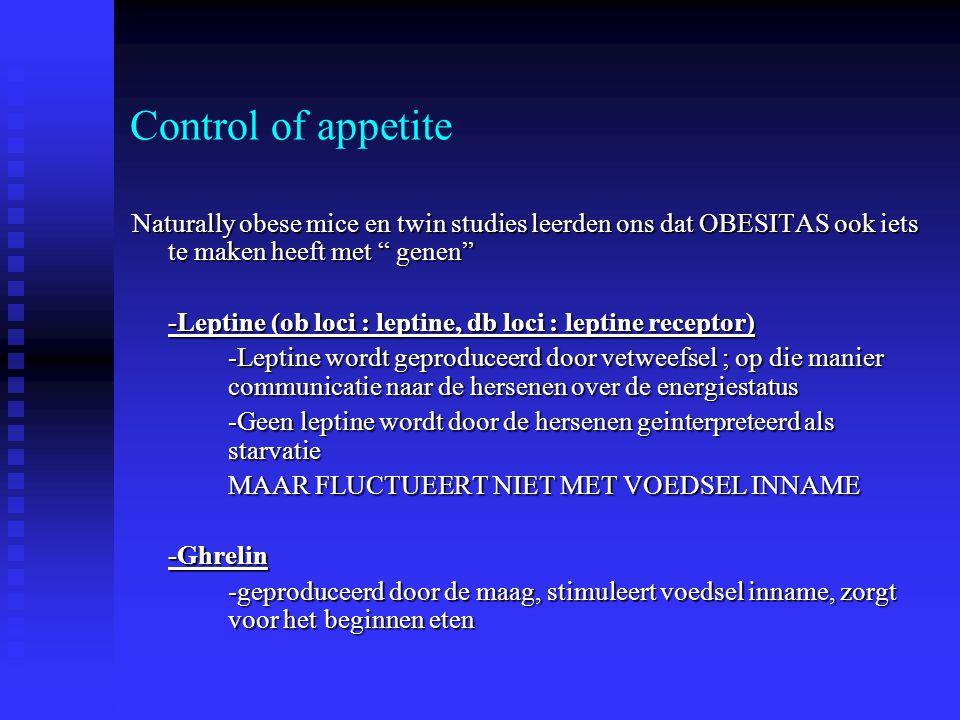 """Control of appetite Naturally obese mice en twin studies leerden ons dat OBESITAS ook iets te maken heeft met """" genen"""" -Leptine (ob loci : leptine, db"""