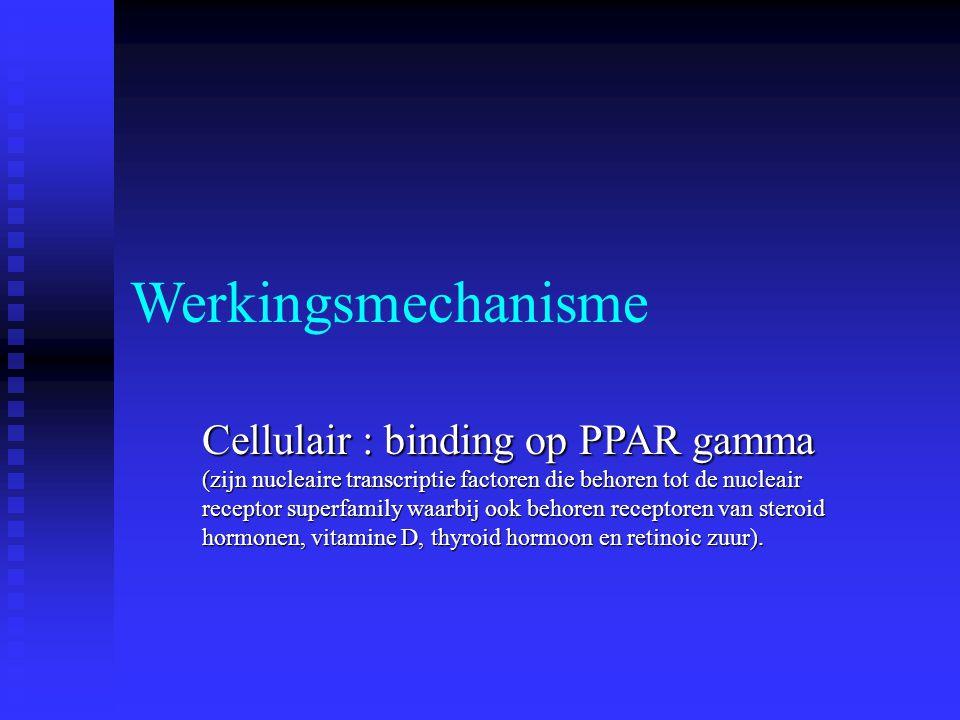 Werkingsmechanisme Cellulair : binding op PPAR gamma (zijn nucleaire transcriptie factoren die behoren tot de nucleair receptor superfamily waarbij oo