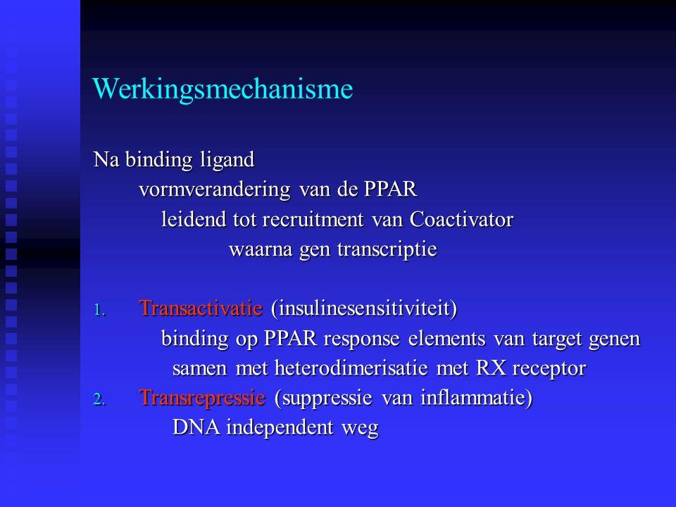 Werkingsmechanisme Na binding ligand vormverandering van de PPAR leidend tot recruitment van Coactivator waarna gen transcriptie 1. Transactivatie (in