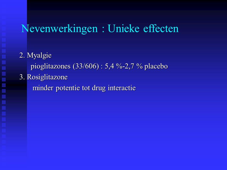 Nevenwerkingen : Unieke effecten 2. Myalgie pioglitazones (33/606) : 5,4 %-2,7 % placebo 3. Rosiglitazone minder potentie tot drug interactie minder p