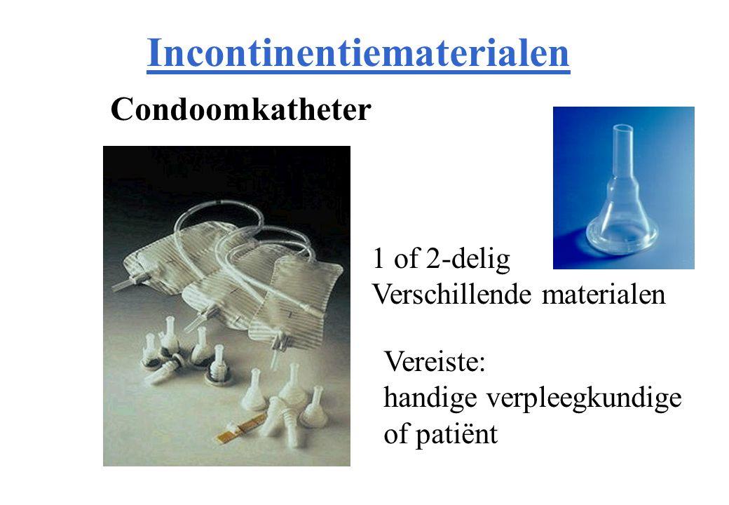 Incontinentiematerialen Condoomkatheter 1 of 2-delig Verschillende materialen Vereiste: handige verpleegkundige of patiënt