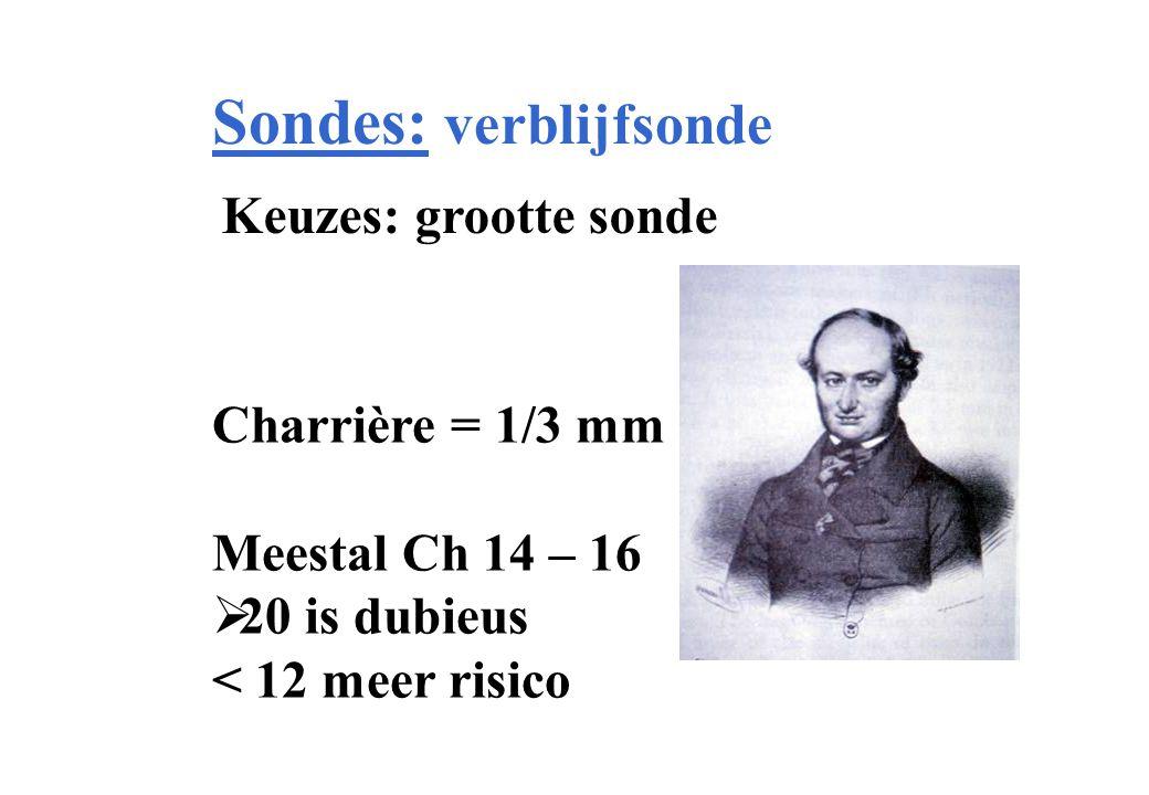 Sondes: verblijfsonde Keuzes: grootte sonde Charrière = 1/3 mm Meestal Ch 14 – 16  20 is dubieus < 12 meer risico