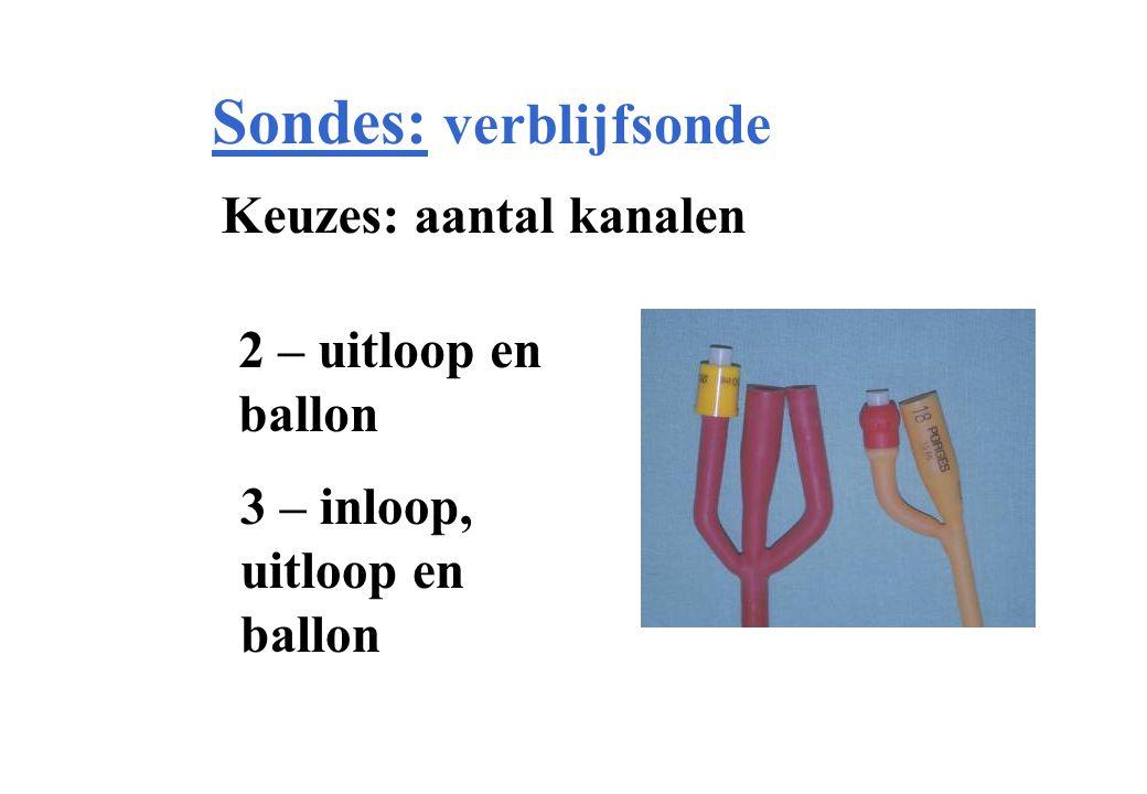 Sondes: verblijfsonde Keuzes: aantal kanalen 2 – uitloop en ballon 3 – inloop, uitloop en ballon