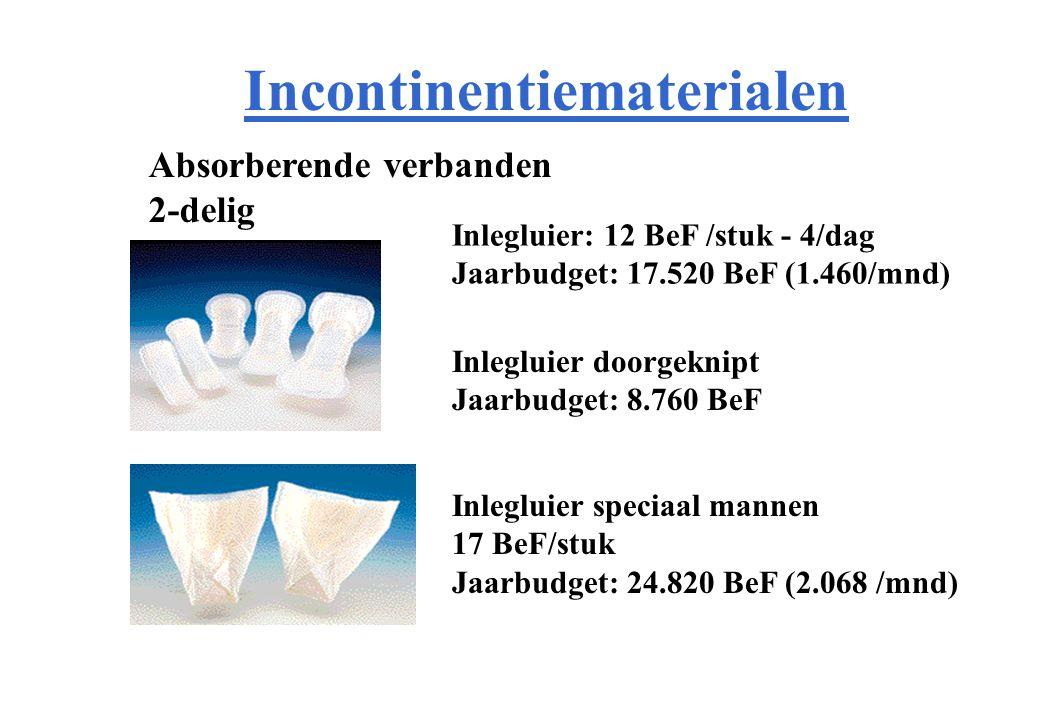 Incontinentiematerialen Absorberende verbanden 2-delig Inlegluier: 12 BeF /stuk - 4/dag Jaarbudget: 17.520 BeF (1.460/mnd) Inlegluier doorgeknipt Jaarbudget: 8.760 BeF Inlegluier speciaal mannen 17 BeF/stuk Jaarbudget: 24.820 BeF (2.068 /mnd)