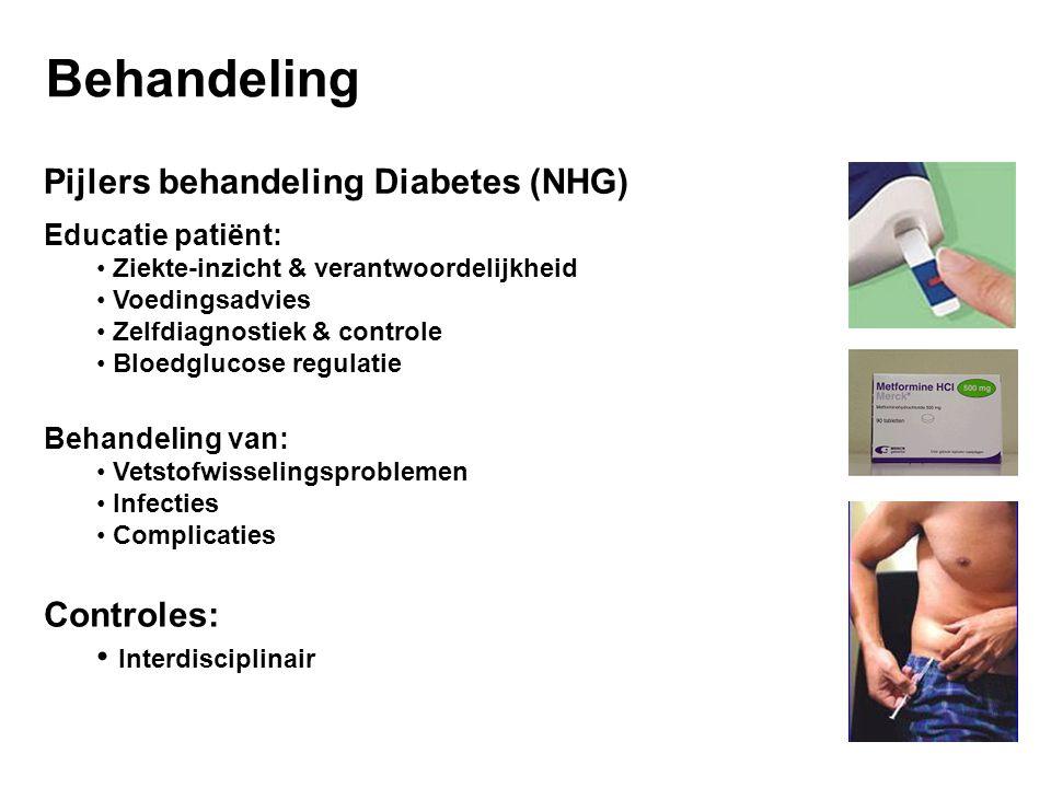 Behandeling Pijlers behandeling Diabetes (NHG) Educatie patiënt: Ziekte-inzicht & verantwoordelijkheid Voedingsadvies Zelfdiagnostiek & controle Bloedglucose regulatie Behandeling van: Vetstofwisselingsproblemen Infecties Complicaties Controles: Interdisciplinair