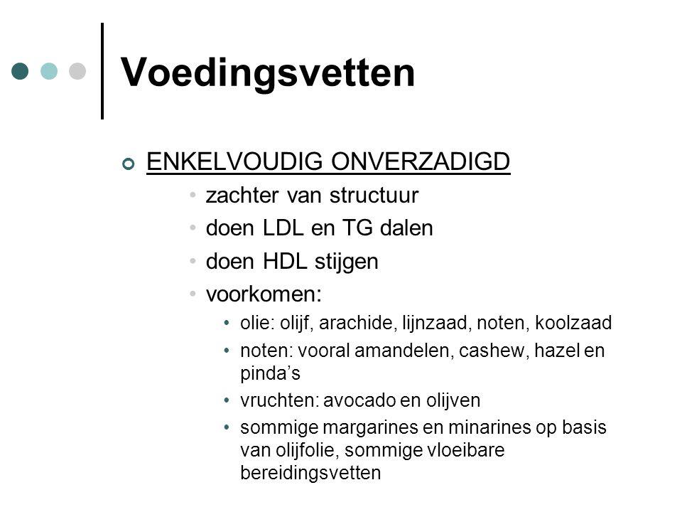 Voedingsvetten ENKELVOUDIG ONVERZADIGD zachter van structuur doen LDL en TG dalen doen HDL stijgen voorkomen: olie: olijf, arachide, lijnzaad, noten,