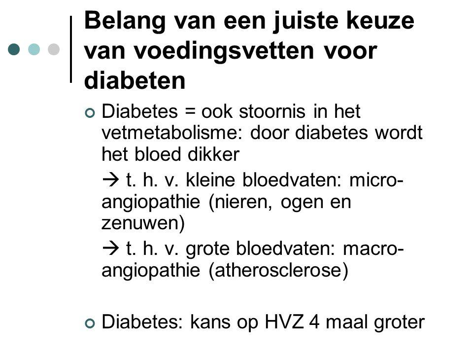 Belang van een juiste keuze van voedingsvetten voor diabeten Diabetes = ook stoornis in het vetmetabolisme: door diabetes wordt het bloed dikker  t.