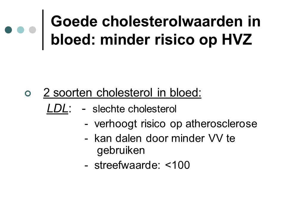 Goede cholesterolwaarden in het bloed: minder risico op HVZ HDL: - goede cholesterol - beschermt onze bloedvaten - stijgt door een goed lichaamsgewicht, voldoende beweging en het gebruik van olijfolie - streefwaarde: * Mannen: >40 * Vrouwen: >50
