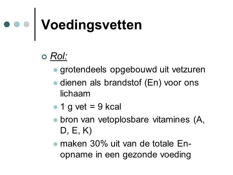 Voedingsvetten Rol: grotendeels opgebouwd uit vetzuren dienen als brandstof (En) voor ons lichaam 1 g vet = 9 kcal bron van vetoplosbare vitamines (A,