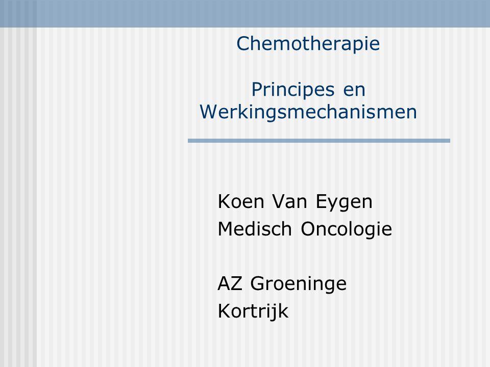 Chemotherapie Principes en Werkingsmechanismen Koen Van Eygen Medisch Oncologie AZ Groeninge Kortrijk