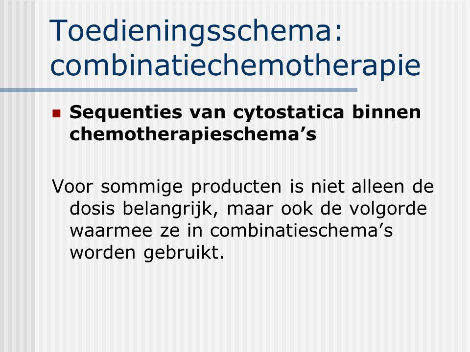 Toedieningsschema: combinatiechemotherapie Sequenties van cytostatica binnen chemotherapieschema's Voor sommige producten is niet alleen de dosis belangrijk, maar ook de volgorde waarmee ze in combinatieschema's worden gebruikt.