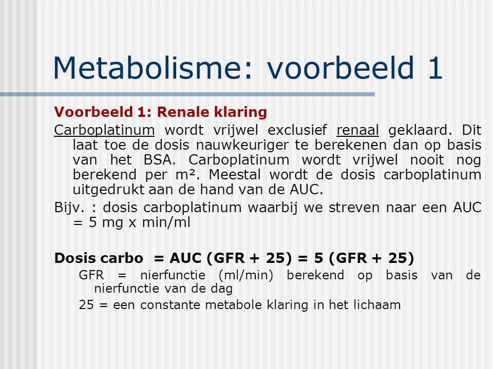 Metabolisme: voorbeeld 1 Voorbeeld 1: Renale klaring Carboplatinum wordt vrijwel exclusief renaal geklaard.
